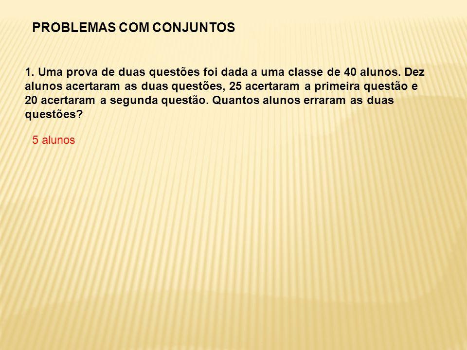 1. Uma prova de duas questões foi dada a uma classe de 40 alunos. Dez alunos acertaram as duas questões, 25 acertaram a primeira questão e 20 acertara