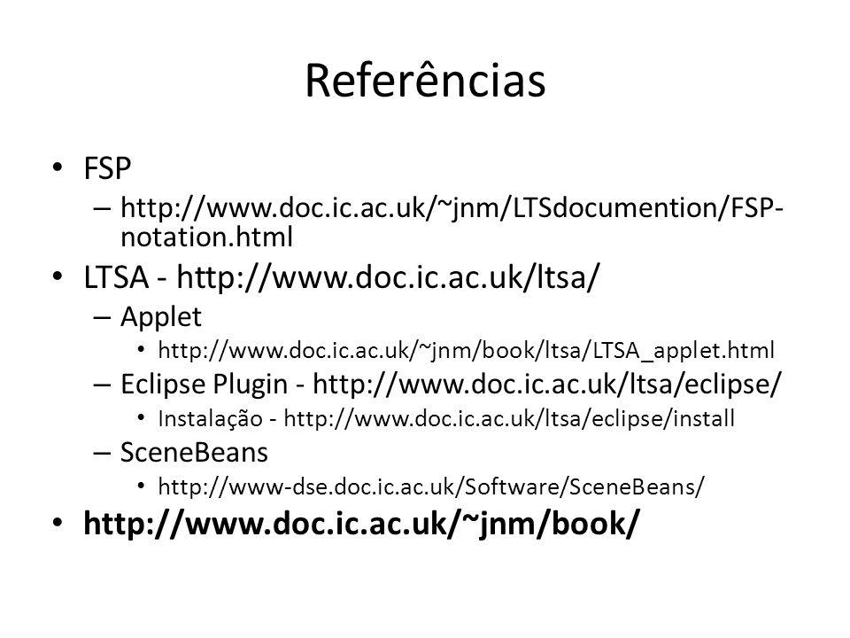 Referências FSP – http://www.doc.ic.ac.uk/~jnm/LTSdocumention/FSP- notation.html LTSA - http://www.doc.ic.ac.uk/ltsa/ – Applet http://www.doc.ic.ac.uk