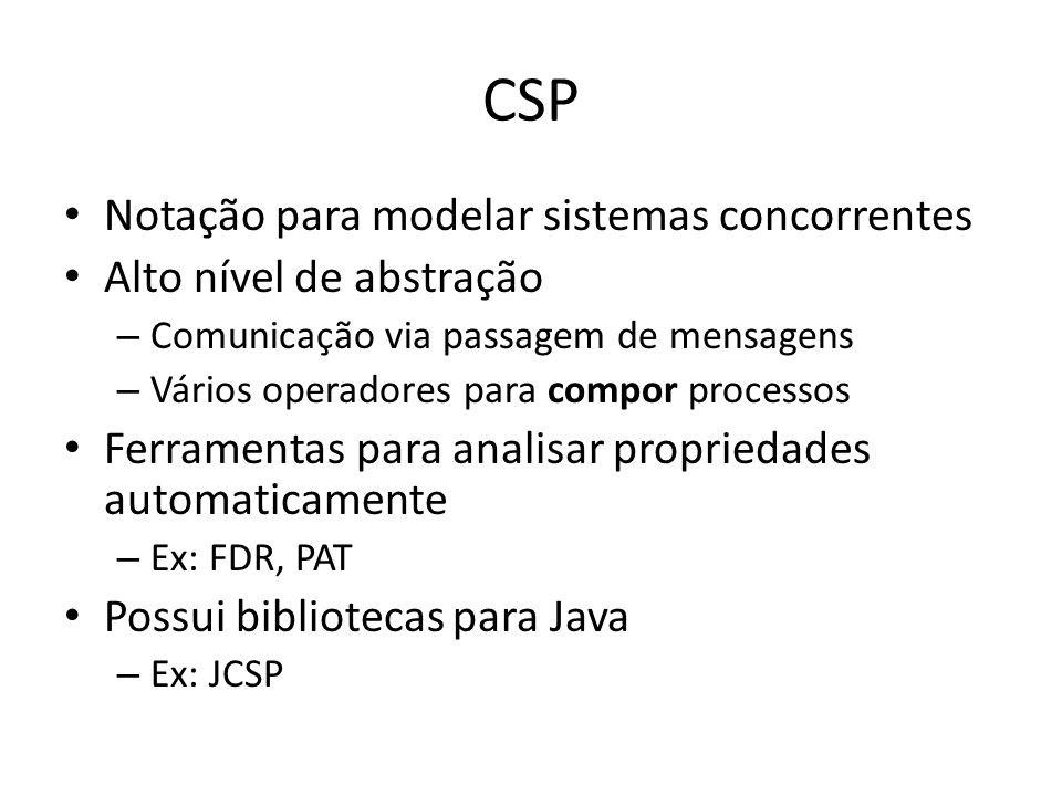CSP Notação para modelar sistemas concorrentes Alto nível de abstração – Comunicação via passagem de mensagens – Vários operadores para compor process
