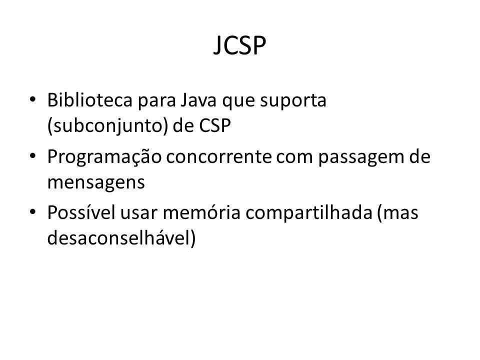 JCSP Biblioteca para Java que suporta (subconjunto) de CSP Programação concorrente com passagem de mensagens Possível usar memória compartilhada (mas