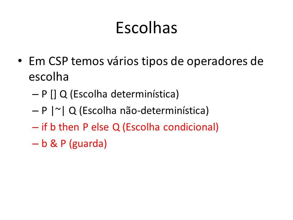 Escolhas Em CSP temos vários tipos de operadores de escolha – P [] Q (Escolha determinística) – P  ~  Q (Escolha não-determinística) – if b then P els