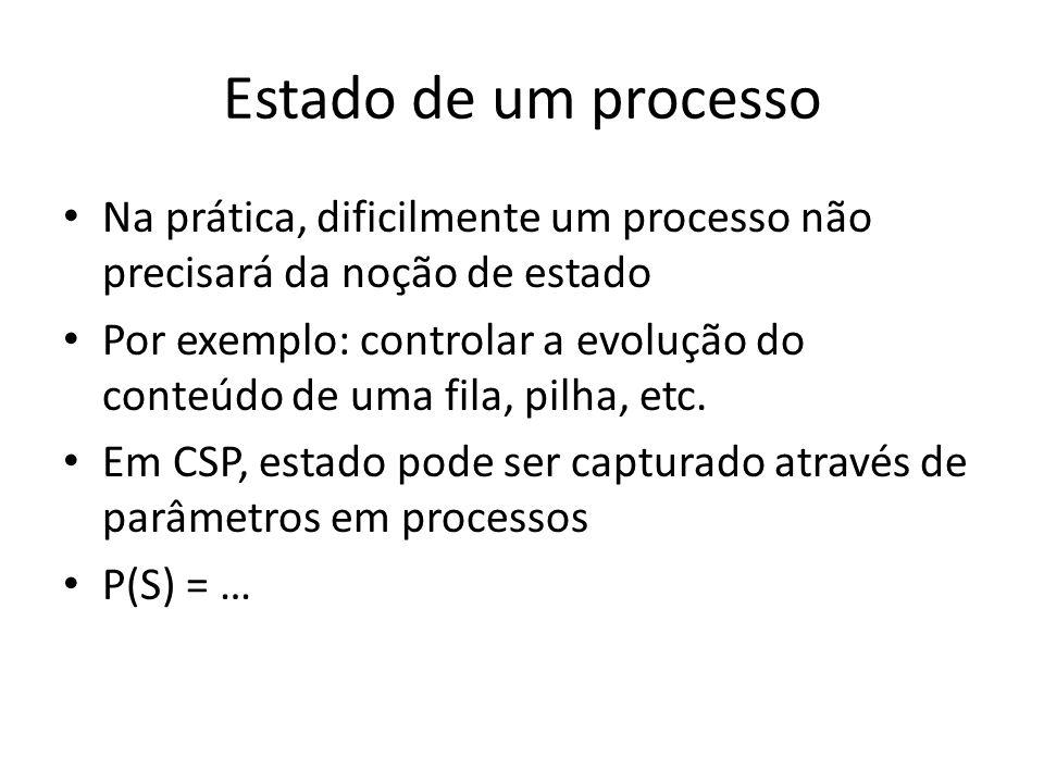 Estado de um processo Na prática, dificilmente um processo não precisará da noção de estado Por exemplo: controlar a evolução do conteúdo de uma fila,