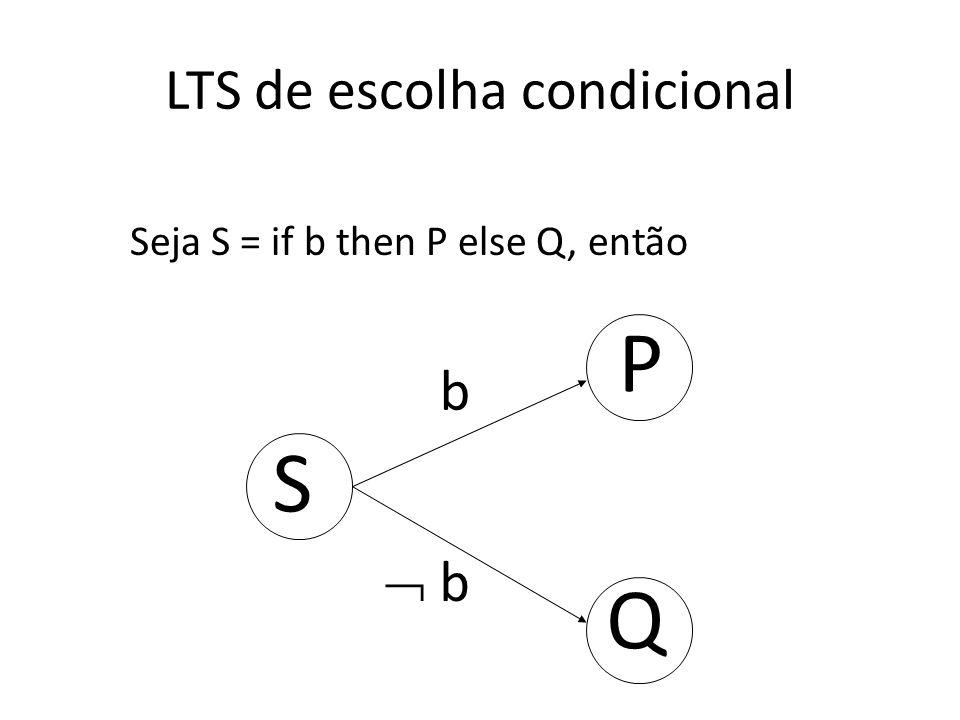 LTS de escolha condicional P b Q b Seja S = if b then P else Q, então S