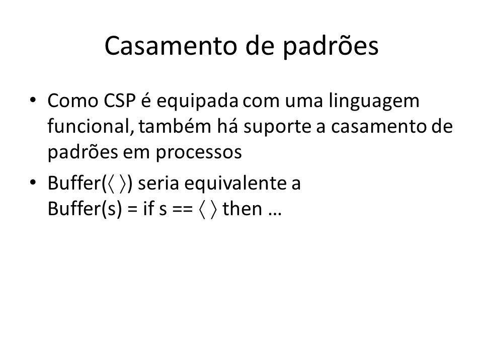 Casamento de padrões Como CSP é equipada com uma linguagem funcional, também há suporte a casamento de padrões em processos Buffer( ) seria equivalent