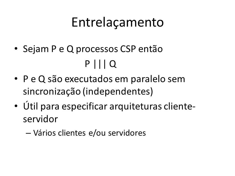 Entrelaçamento Sejam P e Q processos CSP então P     Q P e Q são executados em paralelo sem sincronização (independentes) Útil para especificar arquit