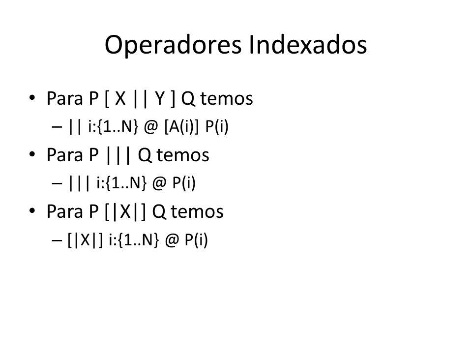 Operadores Indexados Para P [ X    Y ] Q temos –    i:{1..N} @ [A(i)] P(i) Para P     Q temos –     i:{1..N} @ P(i) Para P [ X ] Q temos – [ X ] i:{1.