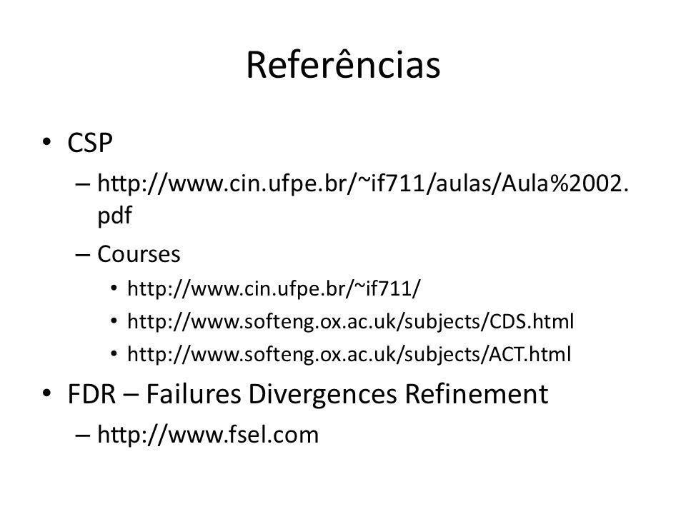 Referências CSP – http://www.cin.ufpe.br/~if711/aulas/Aula%2002. pdf – Courses http://www.cin.ufpe.br/~if711/ http://www.softeng.ox.ac.uk/subjects/CDS