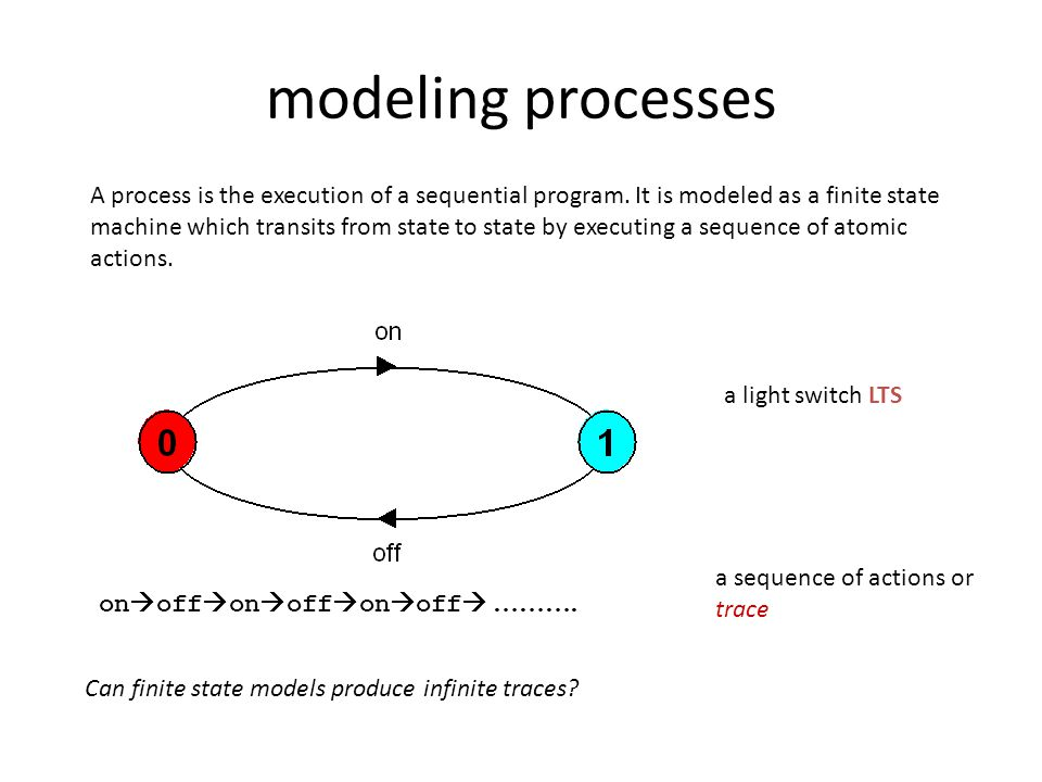 modeling processes A process is the execution of a sequential program. It is modeled as a finite state machine which transits from state to state by e