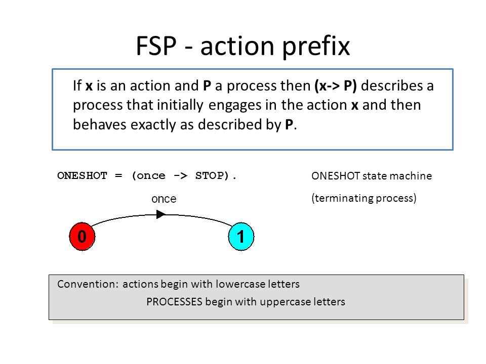 FSP - action prefix If x is an action and P a process then (x-> P) describes a process that initially engages in the action x and then behaves exactly