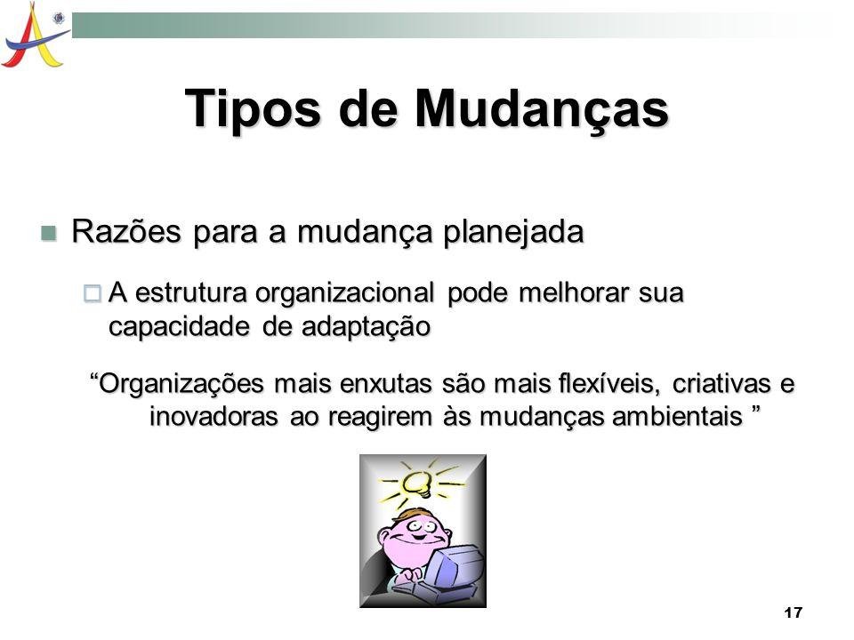 17 Tipos de Mudanças Razões para a mudança planejada Razões para a mudança planejada A estrutura organizacional pode melhorar sua capacidade de adapta