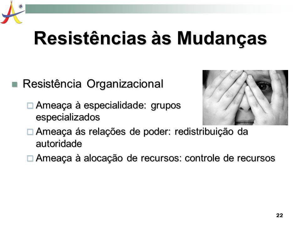 22 Resistências às Mudanças Resistência Organizacional Resistência Organizacional Ameaça à especialidade: grupos especializados Ameaça à especialidade