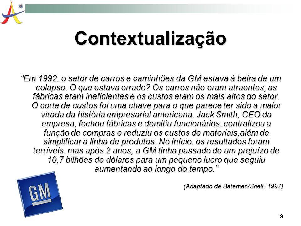 3 Contextualização Em 1992, o setor de carros e caminhões da GM estava à beira de um colapso. O que estava errado? Os carros não eram atraentes, as fá