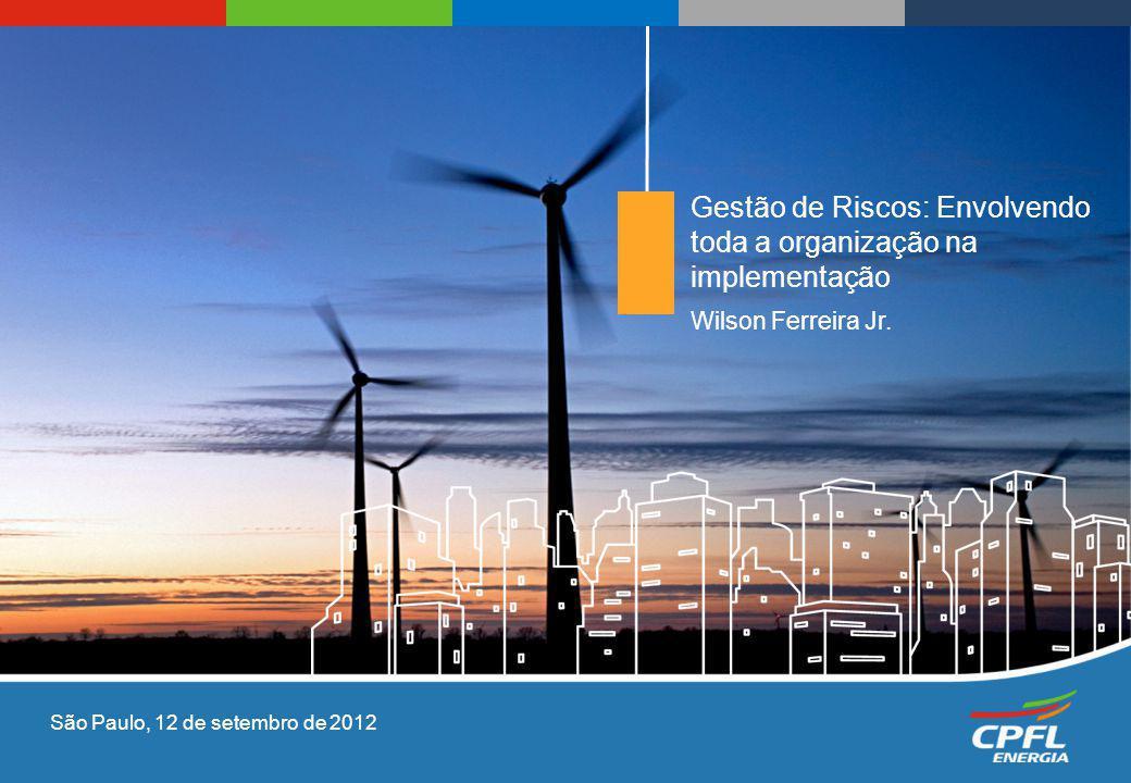 Wilson Ferreira Jr. Gestão de Riscos: Envolvendo toda a organização na implementação São Paulo, 12 de setembro de 2012