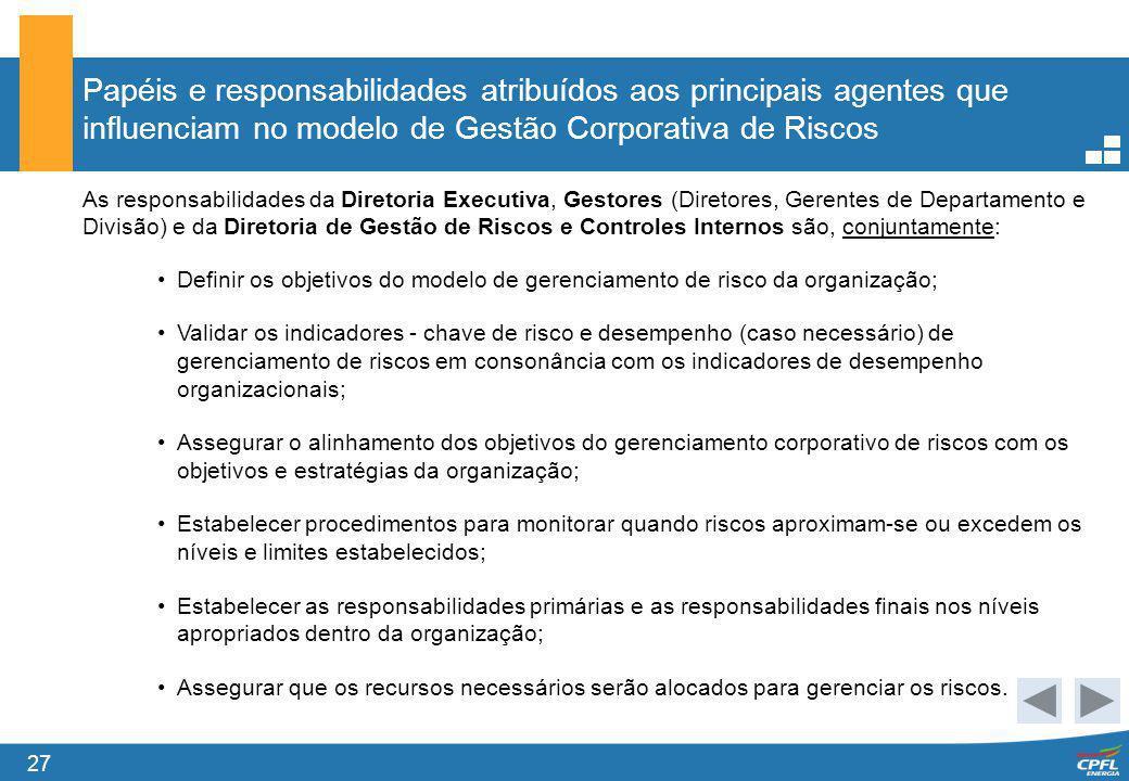 27 Papéis e responsabilidades atribuídos aos principais agentes que influenciam no modelo de Gestão Corporativa de Riscos As responsabilidades da Dire