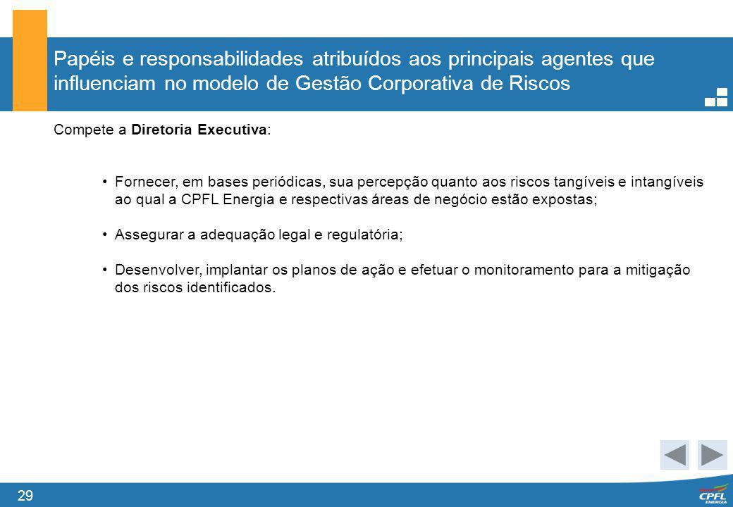 29 Papéis e responsabilidades atribuídos aos principais agentes que influenciam no modelo de Gestão Corporativa de Riscos Compete a Diretoria Executiv