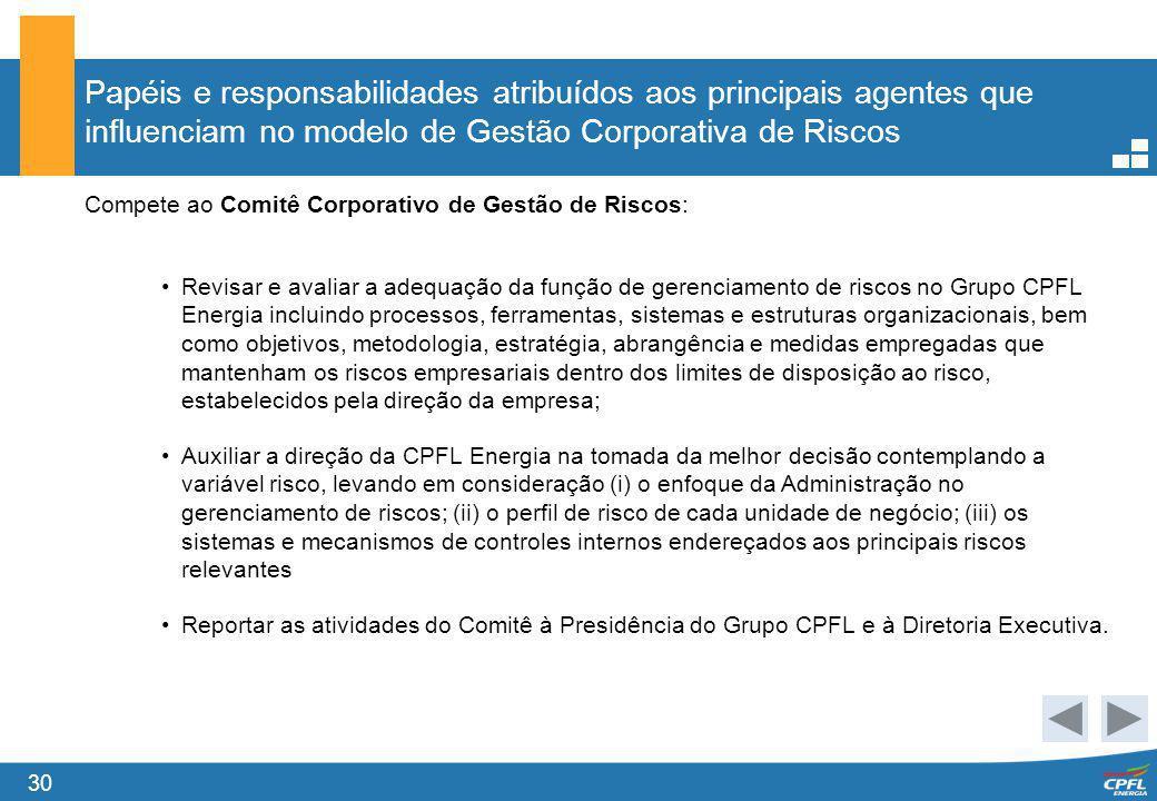 30 Papéis e responsabilidades atribuídos aos principais agentes que influenciam no modelo de Gestão Corporativa de Riscos Compete ao Comitê Corporativ