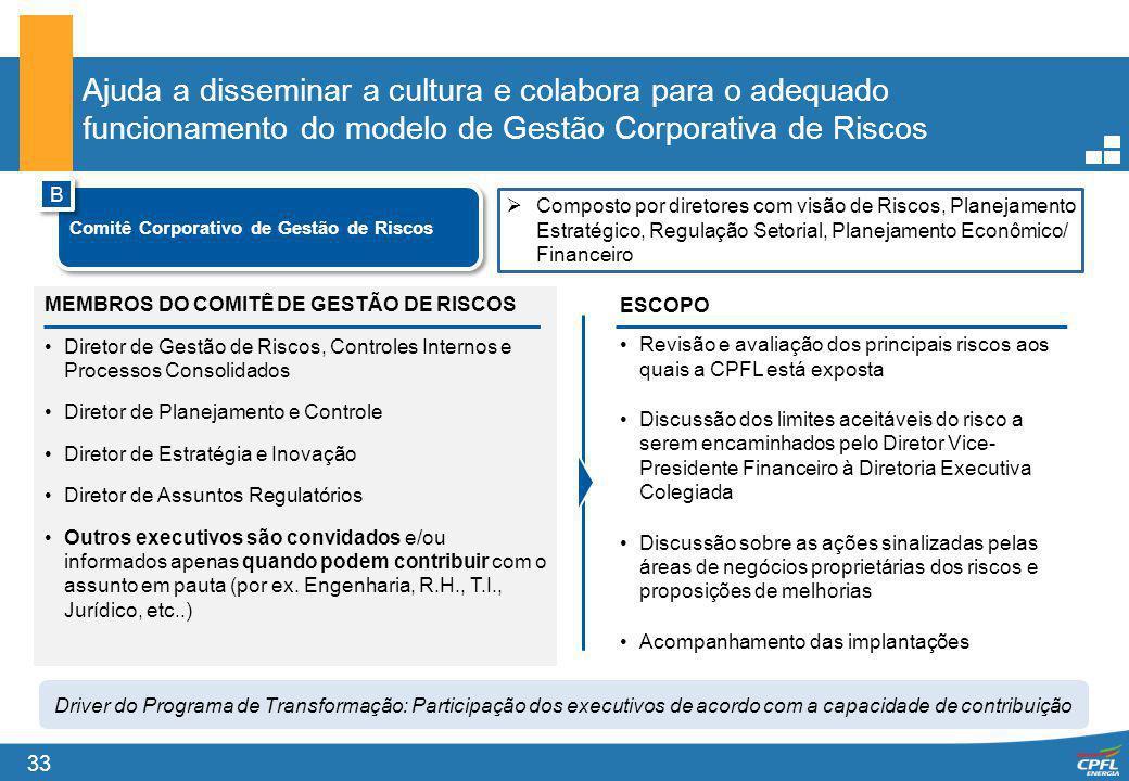 33 Ajuda a disseminar a cultura e colabora para o adequado funcionamento do modelo de Gestão Corporativa de Riscos MEMBROS DO COMITÊ DE GESTÃO DE RISC