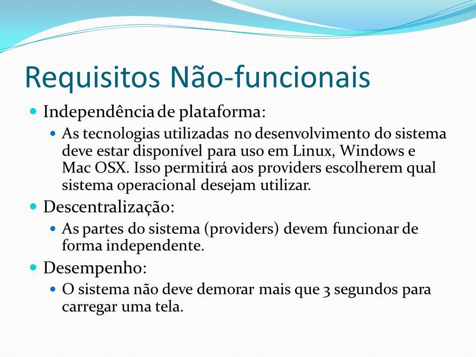 Requisitos Não-funcionais Independência de plataforma: As tecnologias utilizadas no desenvolvimento do sistema deve estar disponível para uso em Linux, Windows e Mac OSX.