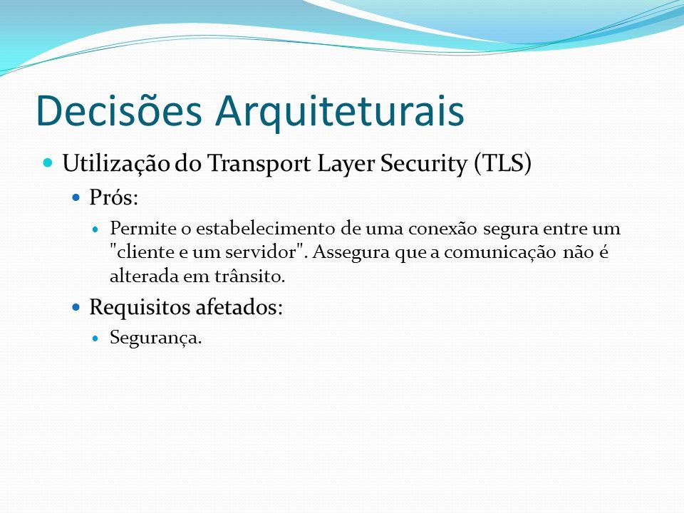 Decisões Arquiteturais Utilização do Transport Layer Security (TLS) Prós: Permite o estabelecimento de uma conexão segura entre um