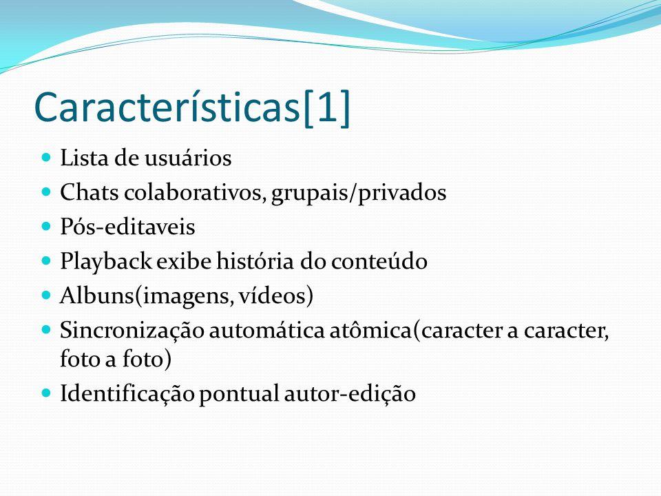 Características[1] Lista de usuários Chats colaborativos, grupais/privados Pós-editaveis Playback exibe história do conteúdo Albuns(imagens, vídeos) Sincronização automática atômica(caracter a caracter, foto a foto) Identificação pontual autor-edição