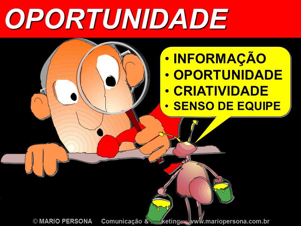 © MARIO PERSONA Comunicação & Marketing www.mariopersona.com.br INFORMAÇÃO OPORTUNIDADE CRIATIVIDADE SENSO DE EQUIPE INFORMAÇÃO OPORTUNIDADE CRIATIVIDADE SENSO DE EQUIPEOPORTUNIDADE