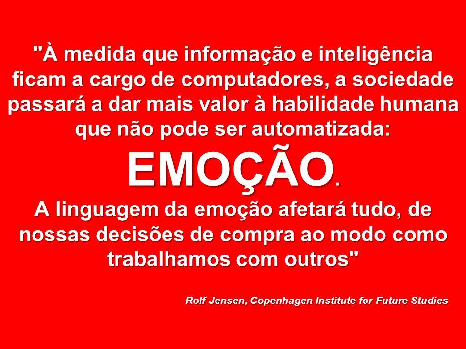 © MARIO PERSONA Comunicação & Marketing www.mariopersona.com.br À medida que informação e inteligência ficam a cargo de computadores, a sociedade passará a dar mais valor à habilidade humana que não pode ser automatizada: EMOÇÃO.