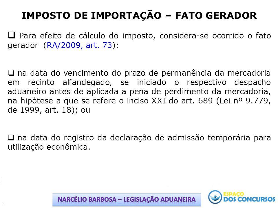 IMPOSTO DE IMPORTAÇÃO – FATO GERADOR Hipóteses de Não Ocorrência do Fato Gerador Não constitui fato gerador do imposto a entrada no território aduaneiro (RA/2009, art.