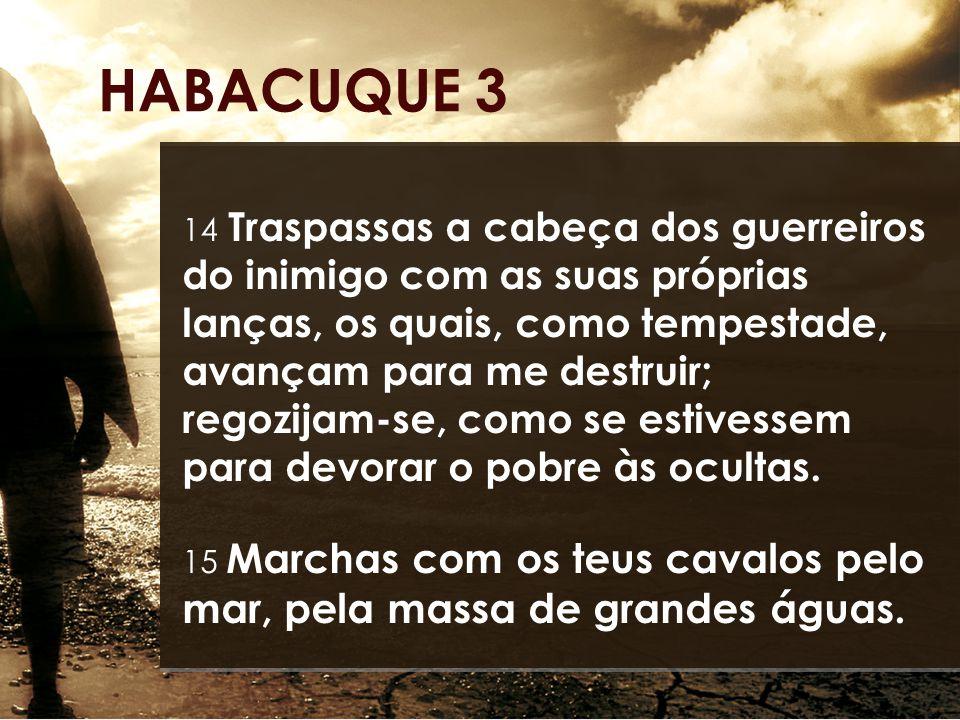 14 Traspassas a cabeça dos guerreiros do inimigo com as suas próprias lanças, os quais, como tempestade, avançam para me destruir; regozijam-se, como