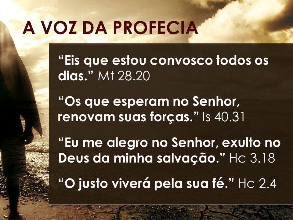 Eis que estou convosco todos os dias. Mt 28.20 Os que esperam no Senhor, renovam suas forças. Is 40.31 Eu me alegro no Senhor, exulto no Deus da minha