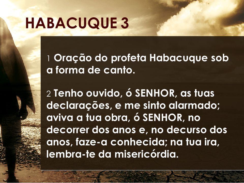HABACUQUE 3 1 Oração do profeta Habacuque sob a forma de canto. 2 Tenho ouvido, ó SENHOR, as tuas declarações, e me sinto alarmado; aviva a tua obra,