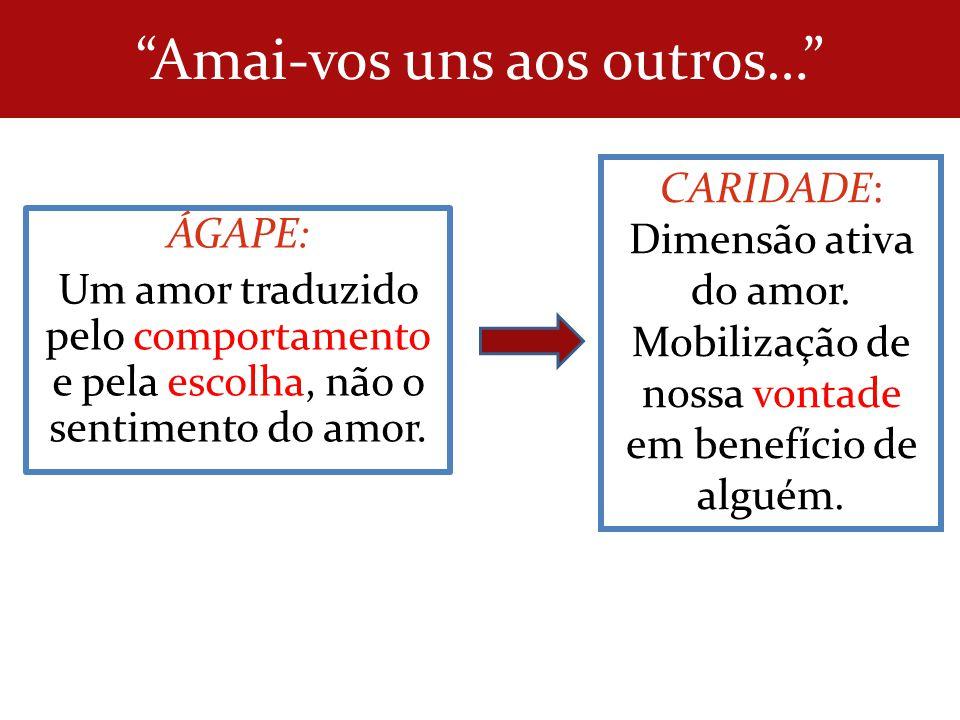 Amai-vos uns aos outros… ÁGAPE: Um amor traduzido pelo comportamento e pela escolha, não o sentimento do amor. CARIDADE: Dimensão ativa do amor. Mobil