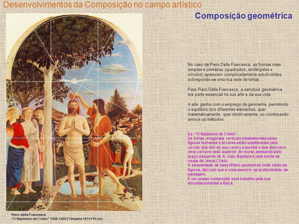 Desenvolvimentos da Composição no campo artístico No caso de Piero Della Francesca, as formas mais simples e primárias (quadrados, rectângulos e círcu