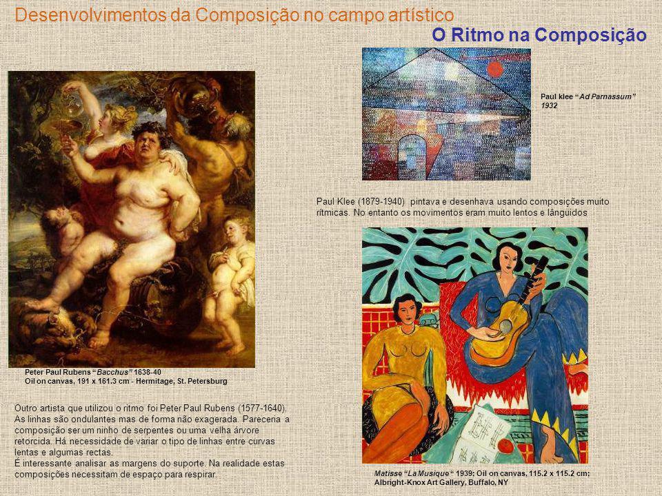 Desenvolvimentos da Composição no campo artístico Outro artista que utilizou o ritmo foi Peter Paul Rubens (1577-1640). As linhas são ondulantes mas d