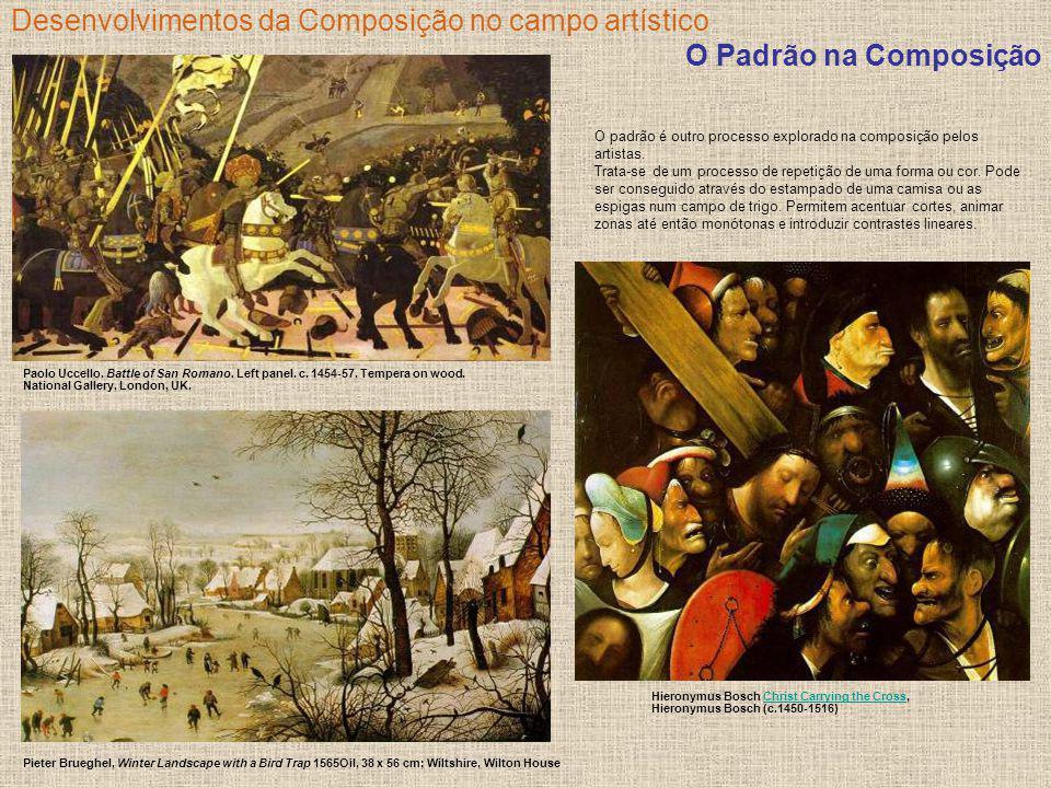 Desenvolvimentos da Composição no campo artístico O Padrão na Composição Paolo Uccello. Battle of San Romano. Left panel. c. 1454-57. Tempera on wood.