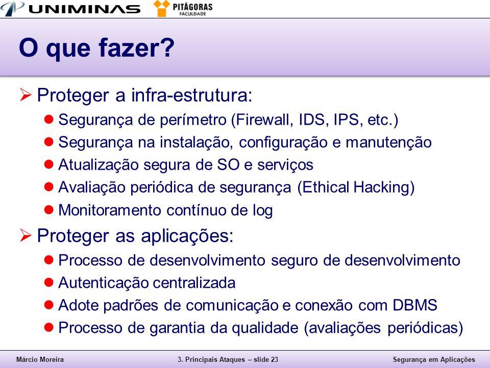 Márcio Moreira3.Principais Ataques – slide 23Segurança em Aplicações O que fazer.