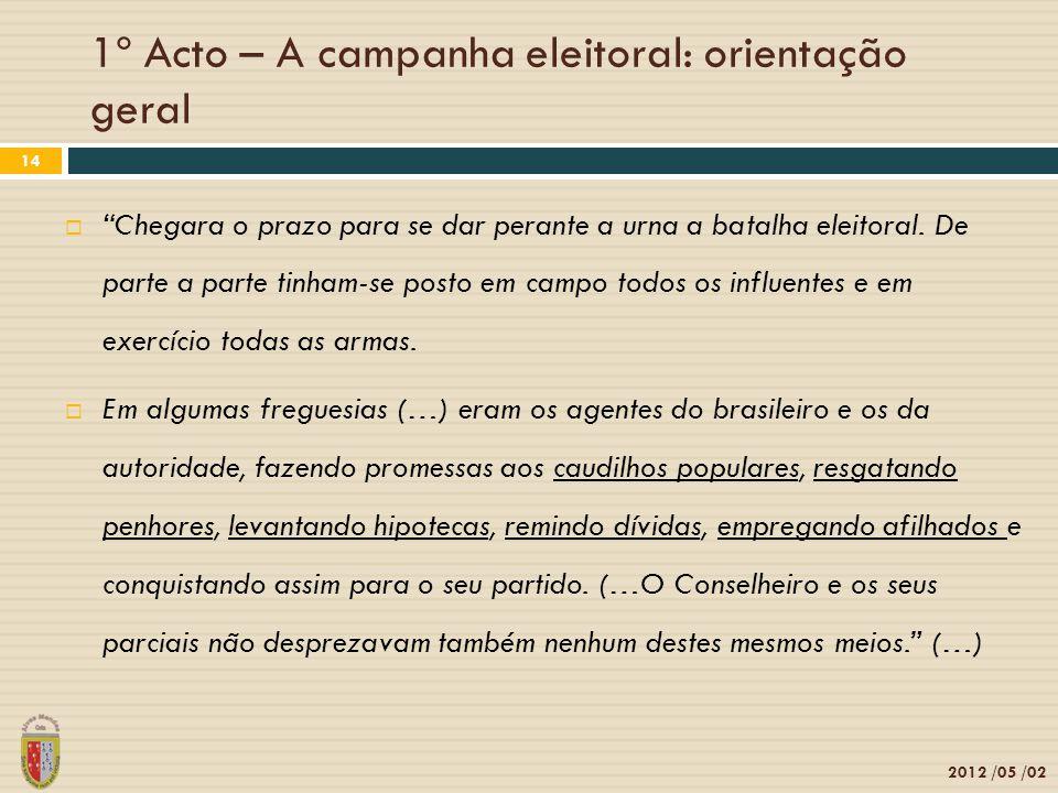 1º Acto – A campanha eleitoral: orientação geral 2012 /05 /02 14 Chegara o prazo para se dar perante a urna a batalha eleitoral. De parte a parte tinh