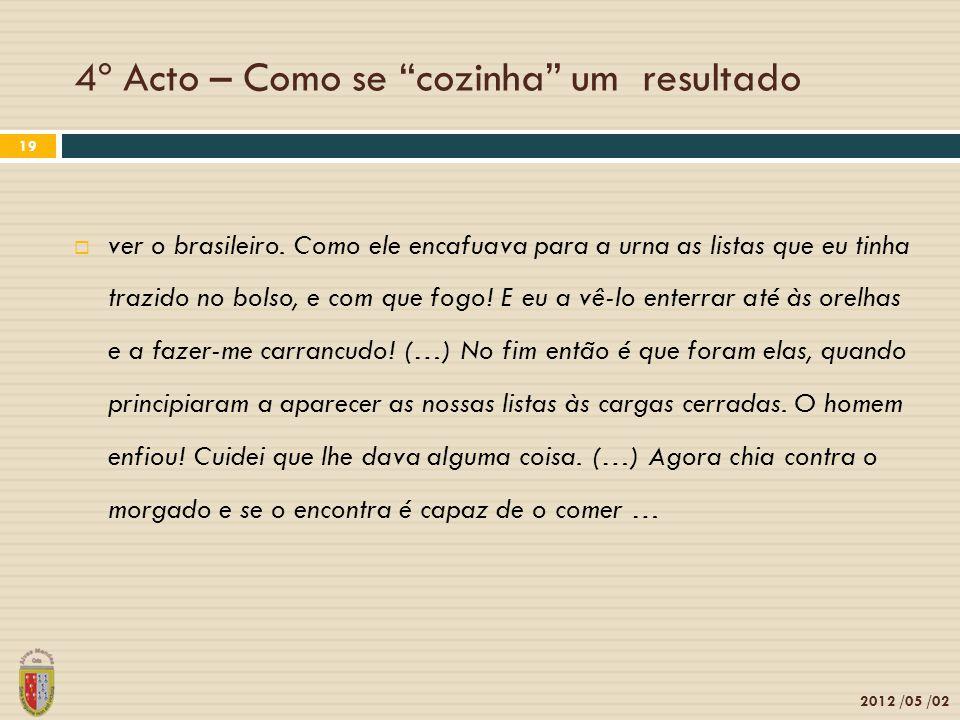 4º Acto – Como se cozinha um resultado 2012 /05 /02 19 ver o brasileiro. Como ele encafuava para a urna as listas que eu tinha trazido no bolso, e com