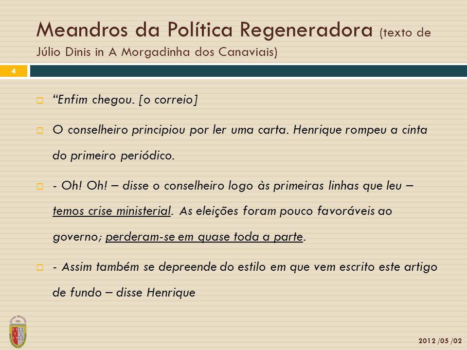 Meandros da Política Regeneradora (texto de Júlio Dinis in A Morgadinha dos Canaviais) 2012 /05 /02 5 - Dizem-me nesta carta que já se fala em que o ministério vai pedir a sua demissão.