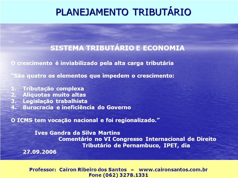 PLANEJAMENTO TRIBUTÁRIO Professor: Cairon Ribeiro dos Santos – www.caironsantos.com.br Fone (062) 3278.1331 SISTEMA TRIBUTÁRIO E ECONOMIA O cresciment