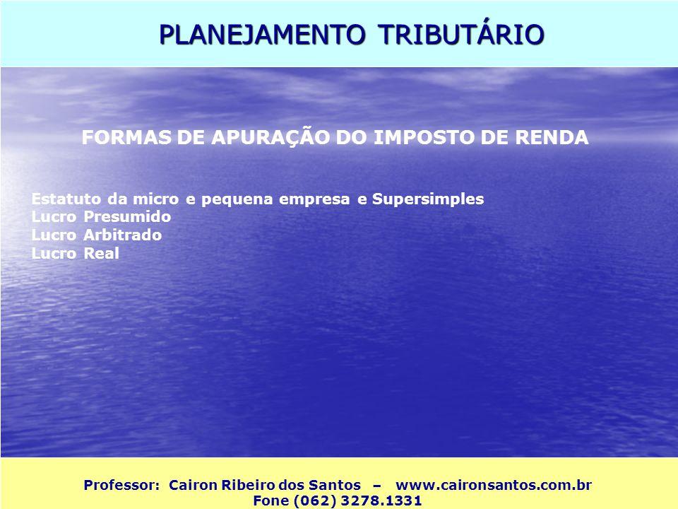 PLANEJAMENTO TRIBUTÁRIO Professor: Cairon Ribeiro dos Santos – www.caironsantos.com.br Fone (062) 3278.1331 FORMAS DE APURAÇÃO DO IMPOSTO DE RENDA Est
