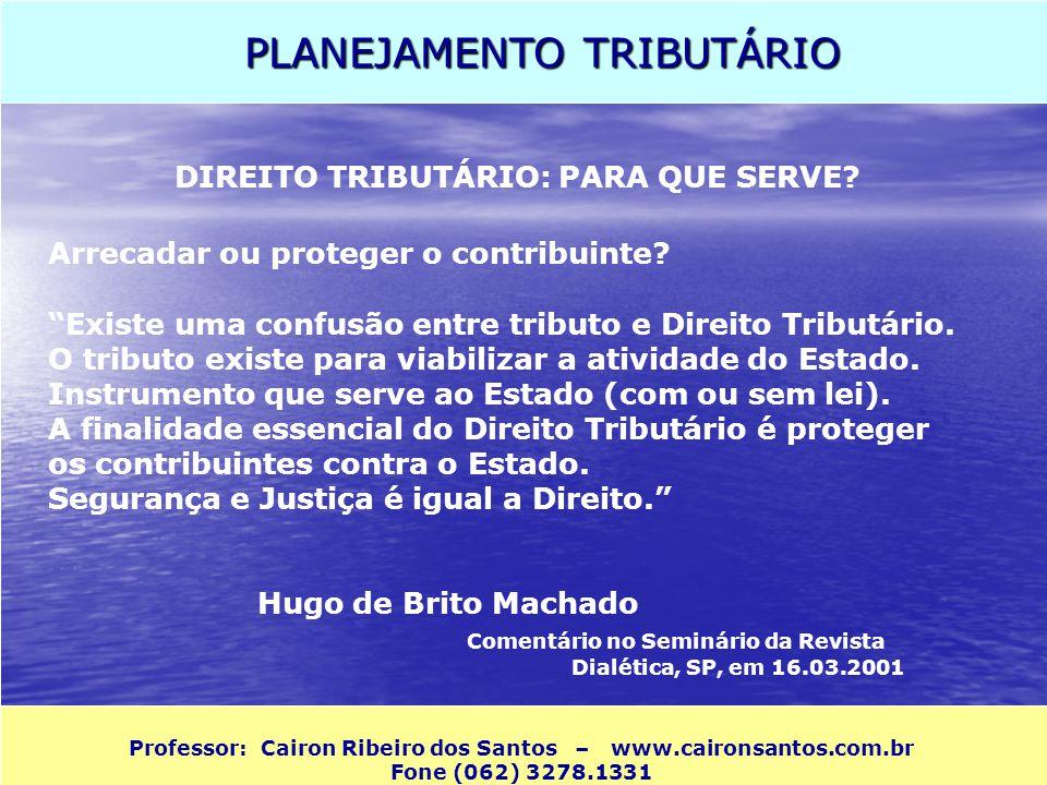 PLANEJAMENTO TRIBUTÁRIO Professor: Cairon Ribeiro dos Santos – www.caironsantos.com.br Fone (062) 3278.1331 DIREITO TRIBUTÁRIO: PARA QUE SERVE? Arreca