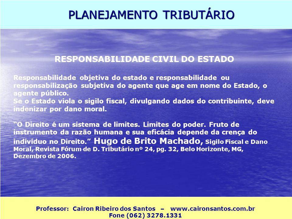 PLANEJAMENTO TRIBUTÁRIO Professor: Cairon Ribeiro dos Santos – www.caironsantos.com.br Fone (062) 3278.1331 RESPONSABILIDADE CIVIL DO ESTADO Responsab
