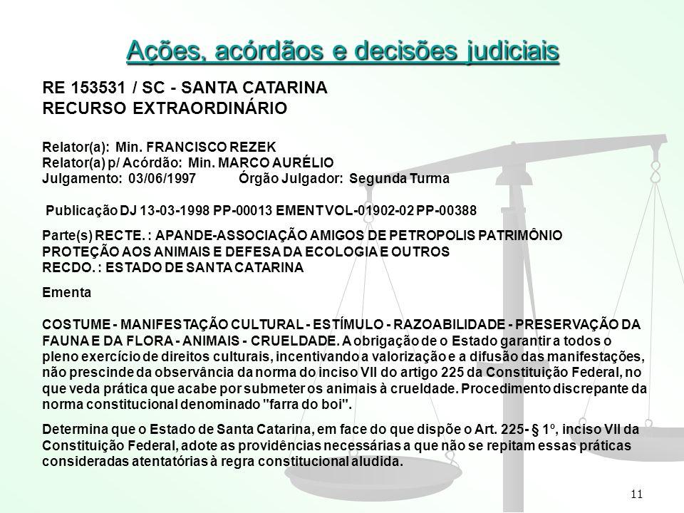 11 Ações, acórdãos e decisões judiciais RE 153531 / SC - SANTA CATARINA RECURSO EXTRAORDINÁRIO Relator(a): Min. FRANCISCO REZEK Relator(a) p/ Acórdão: