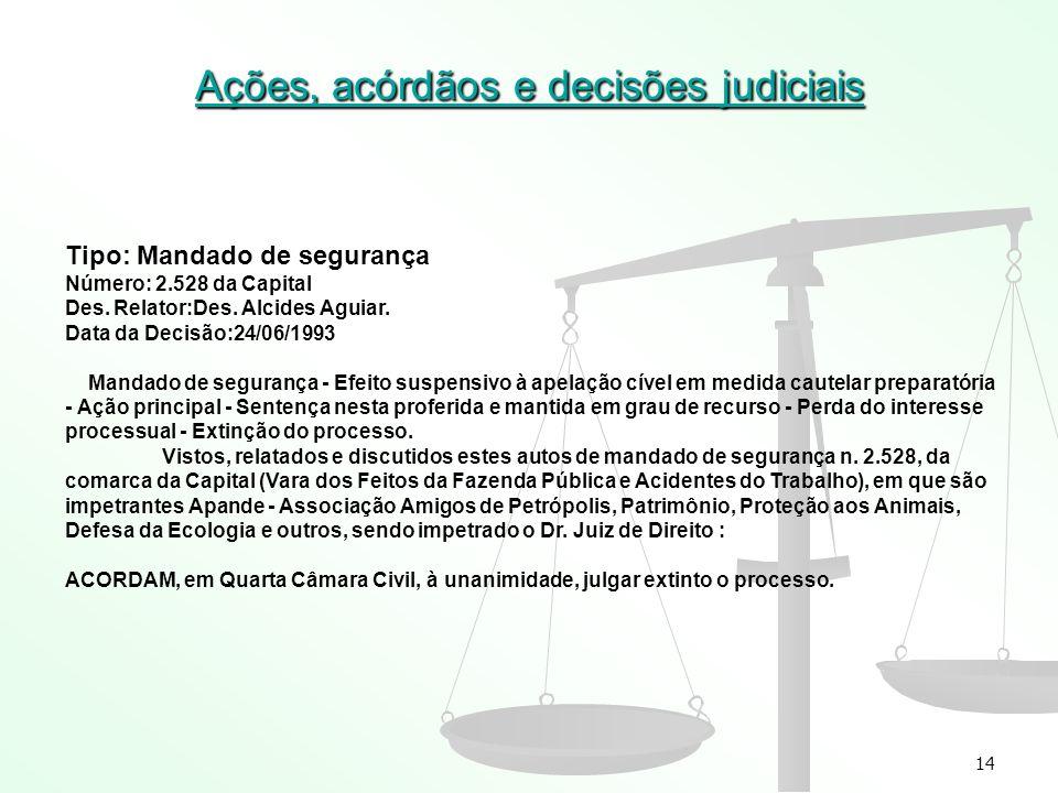 14 Ações, acórdãos e decisões judiciais Tipo: Mandado de segurança Número: 2.528 da Capital Des. Relator:Des. Alcides Aguiar. Data da Decisão:24/06/19