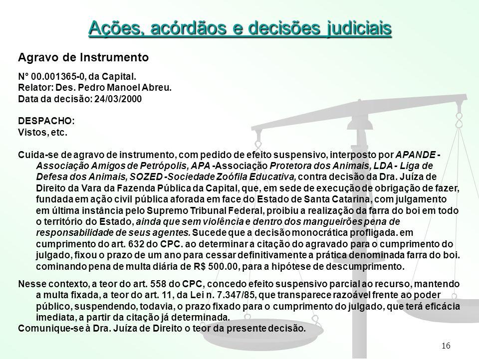 16 Ações, acórdãos e decisões judiciais Agravo de Instrumento N° 00.001365-0, da Capital. Relator: Des. Pedro Manoel Abreu. Data da decisão: 24/03/200
