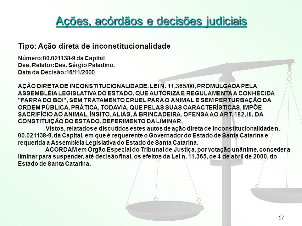 17 Ações, acórdãos e decisões judiciais Tipo: Ação direta de inconstitucionalidade Número:00.021138-9 da Capital Des. Relator:Des. Sérgio Paladino. Da