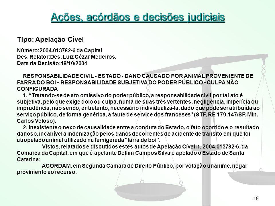 18 Ações, acórdãos e decisões judiciais Tipo: Apelação Cível Número:2004.013782-6 da Capital Des. Relator:Des. Luiz Cézar Medeiros. Data da Decisão:19