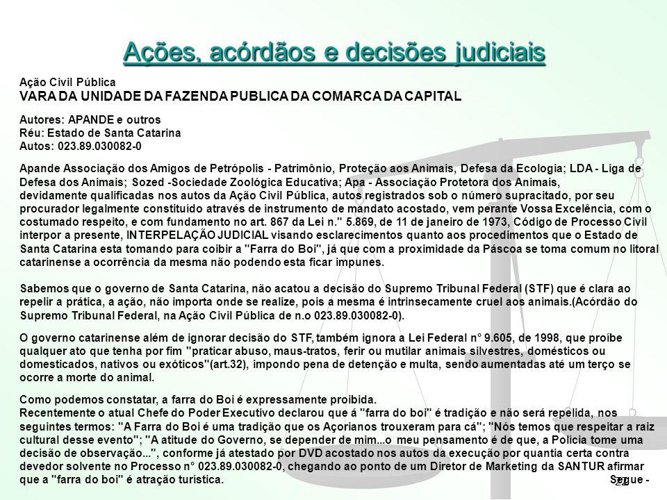 22 Ações, acórdãos e decisões judiciais Ação Civil Pública VARA DA UNIDADE DA FAZENDA PUBLICA DA COMARCA DA CAPITAL Autores: APANDE e outros Réu: Esta