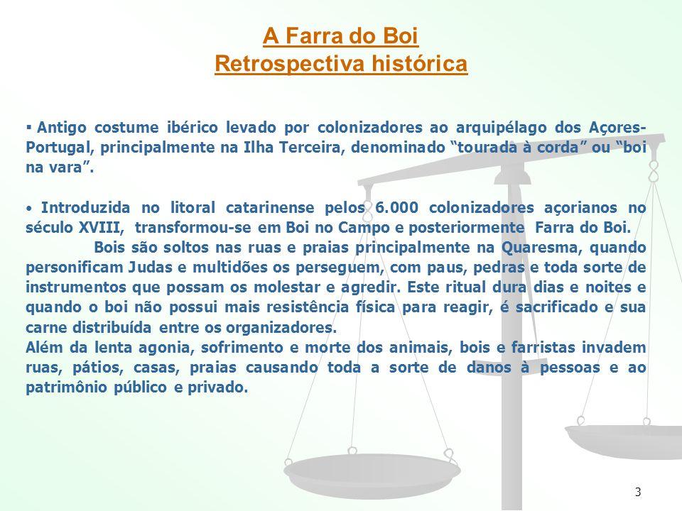 3 A Farra do Boi Retrospectiva histórica Antigo costume ibérico levado por colonizadores ao arquipélago dos Açores- Portugal, principalmente na Ilha Terceira, denominado tourada à corda ou boi na vara.