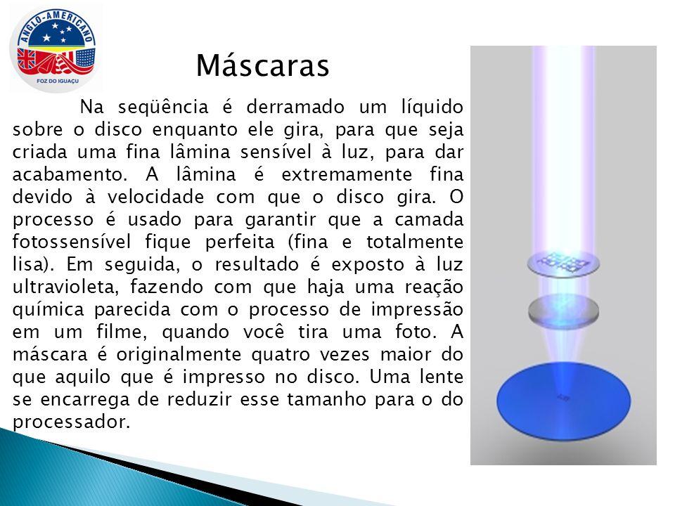 Máscaras Na seqüência é derramado um líquido sobre o disco enquanto ele gira, para que seja criada uma fina lâmina sensível à luz, para dar acabamento.